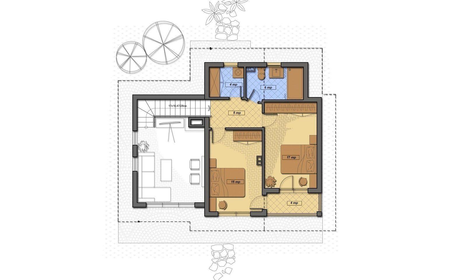 Casa din Povesti plan etaj actual- Cartierul Buna Ziua Tartasesti nord vest Bucuresti