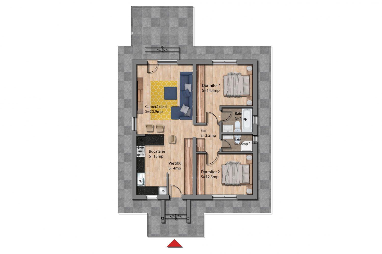Plan parter Casa Dacică+